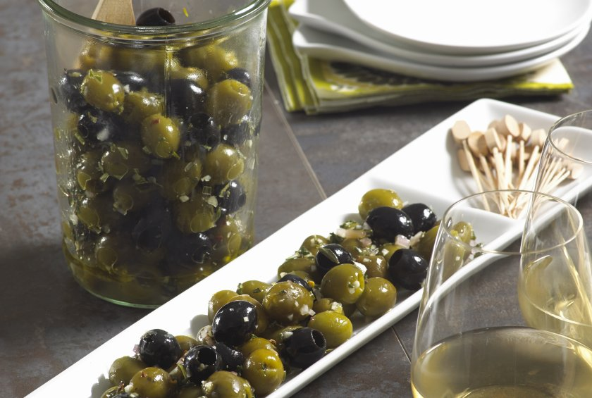 Lemon and Herb Olives (Green and Black)